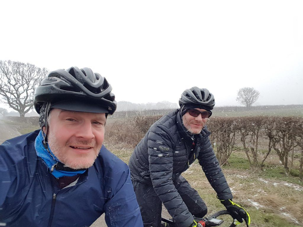 Cambridge Pork Pie, riding in snow flurries