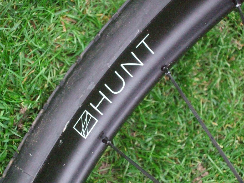 Closeup of hunt 30 carbon wheels