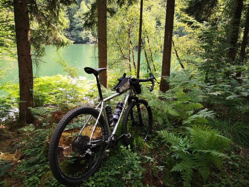 Trees, lakes and a Bombtrack bike.