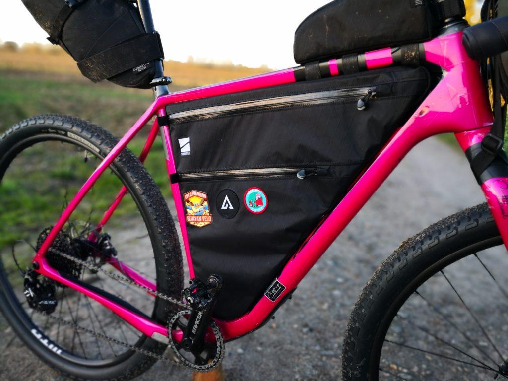 Straight Cut Design custom frame bag fitted to Salsa Cutthroat V2