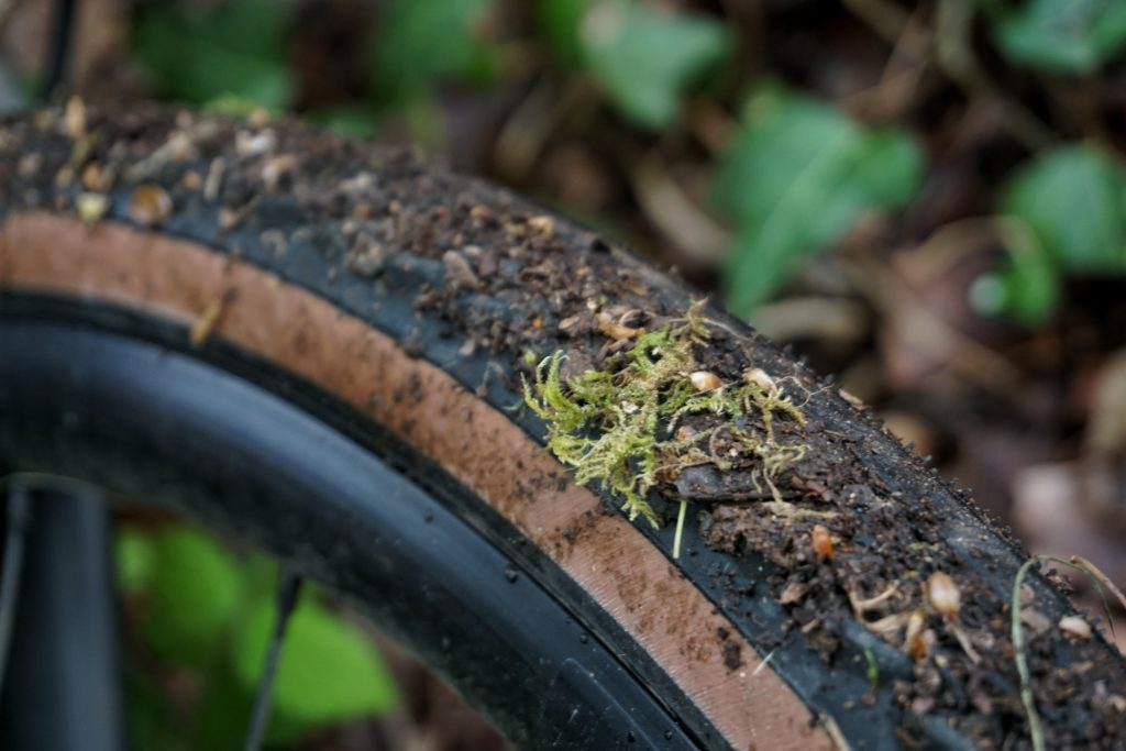 Mud covered gravel tyre