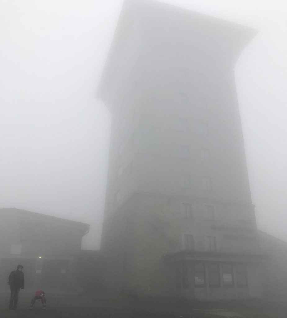 Old Russian listening station in the mist.