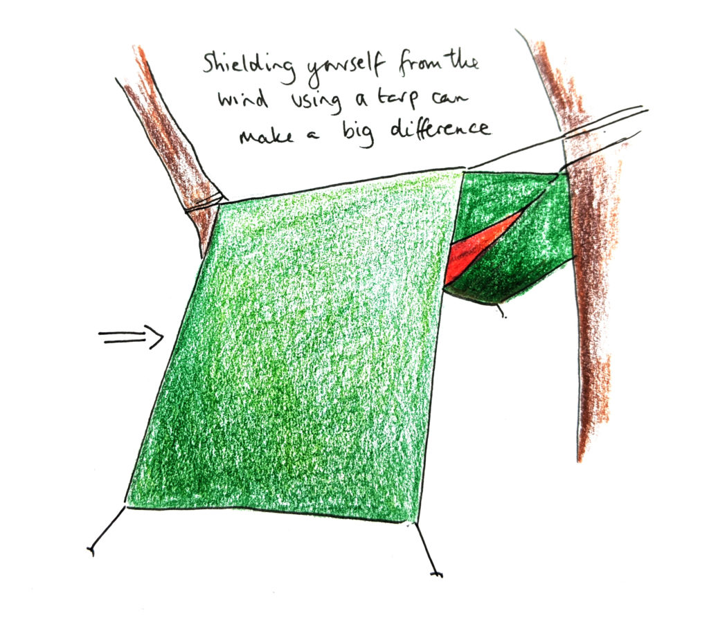Hammocking - hammock and tarp illustration
