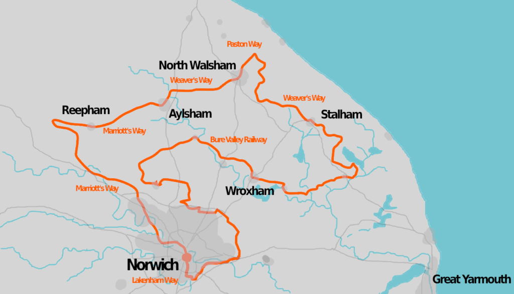 Map of Norfolk and our Rail Trail