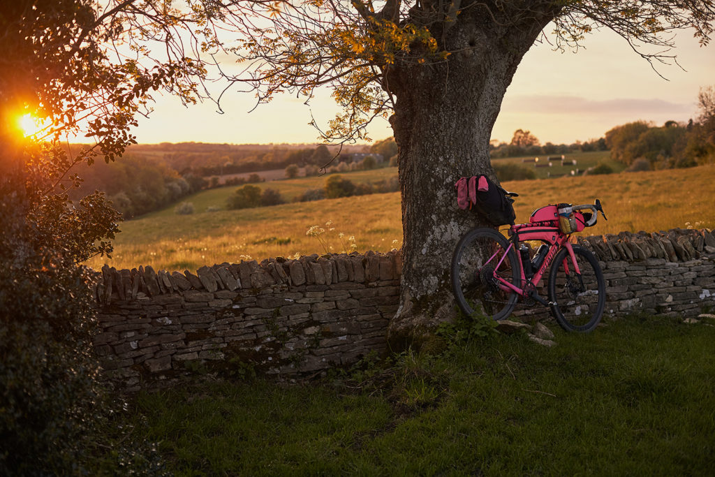 The cotswolds are like nothing else in the UK, the sunsets and a pink Specialized Diverge takes in the view too