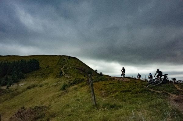 Riders work there way across ridgeway gravel at Grinduro 2021 in Wales