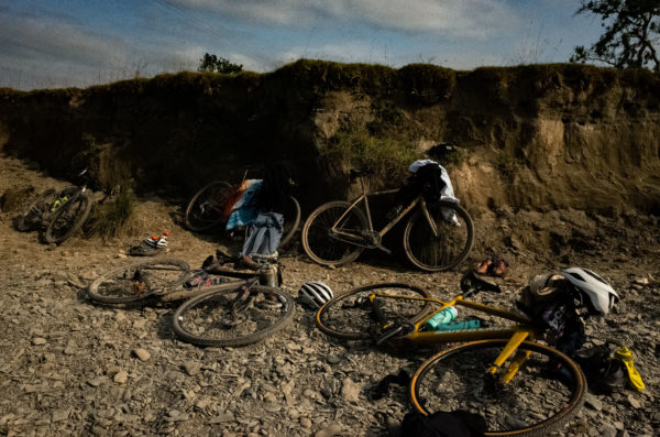 A sure sign of a good time, wild swiming and bikes at Grinduro 2021
