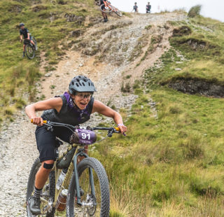 Taylor Doyle ripping a descent at grinduro 2021 on a stayer cycles