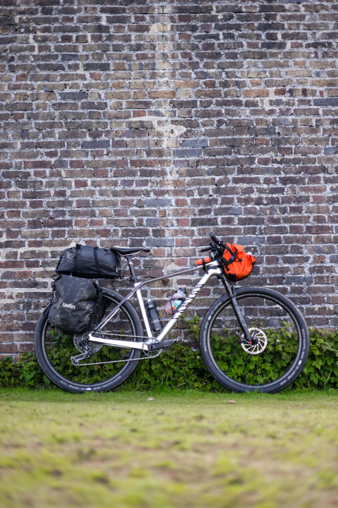 The Restrap Bar Pack On a hardtail mountain bike in full touring mode