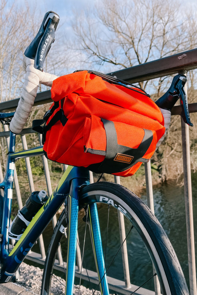 Even works nicely between the drops on a road bike, the restrap bar pack is really versatile